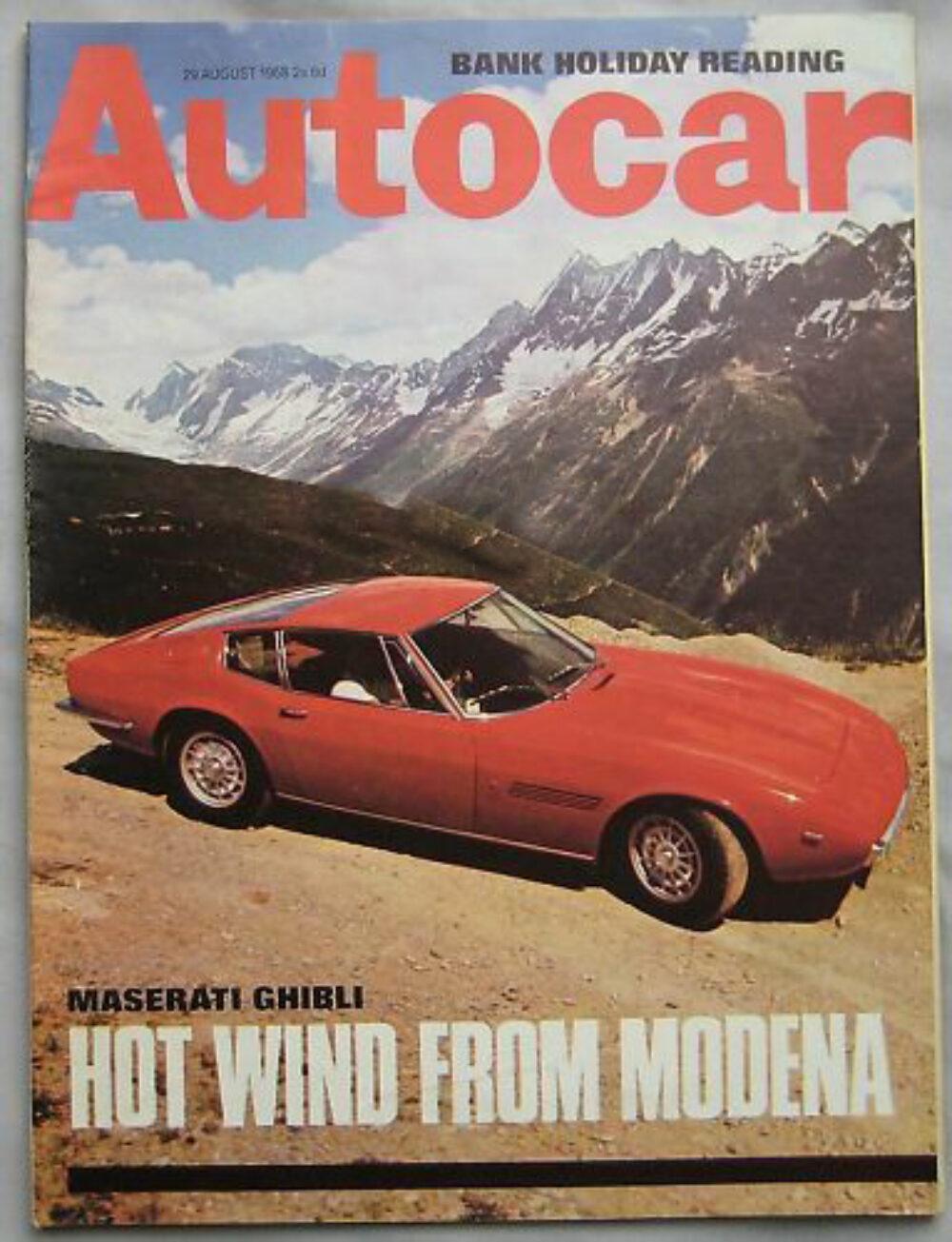 Autocar magazine 29 8 1968 featuring Maserati Ghibli Monteverdi AC